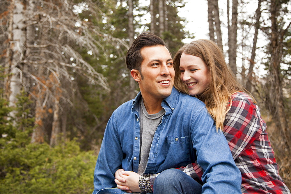 Portrait of young couple in non-urban scene, Salt Lake City, Utah