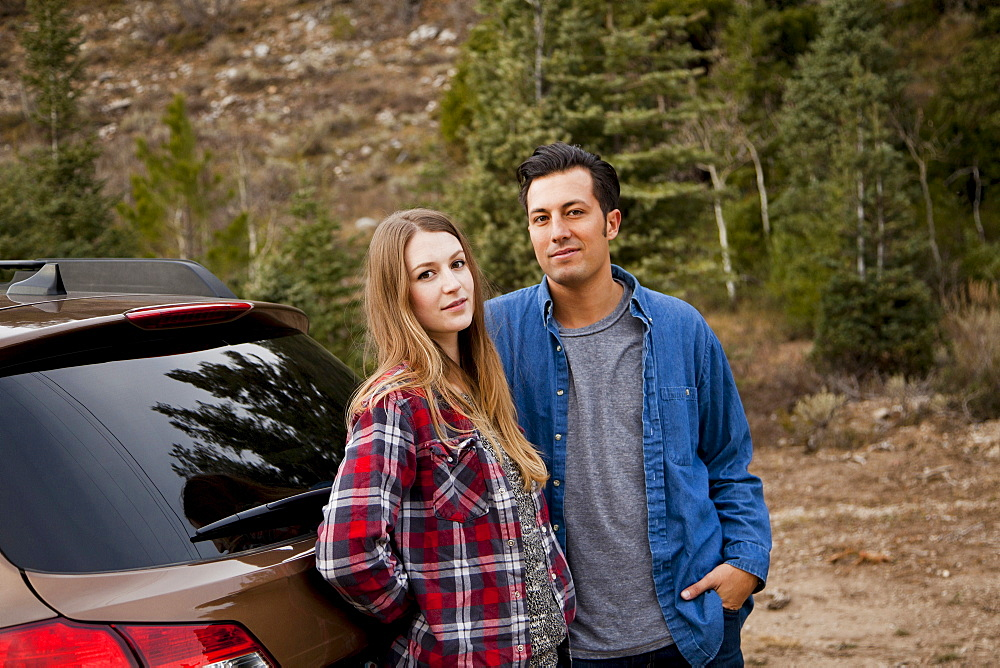 Portrait of young couple during road trip, Salt Lake City, Utah
