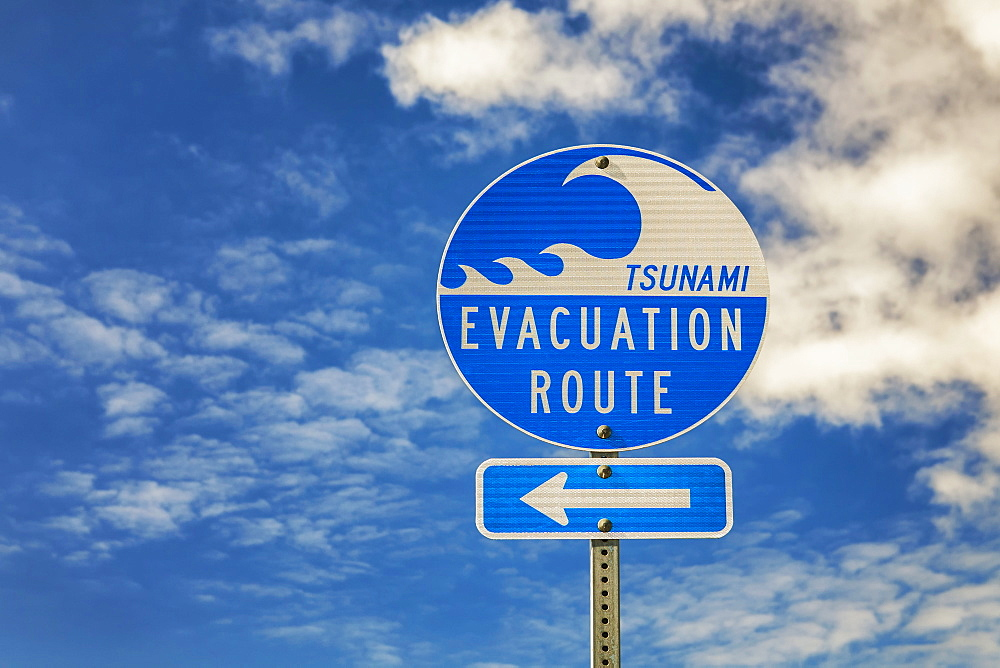Evacuation route sign, Bandon Beach, Oregon