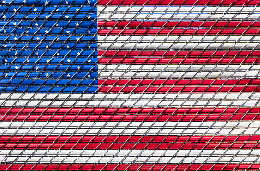 The American flag woven into a chain link fence, Charleston, OR - 1178-9744