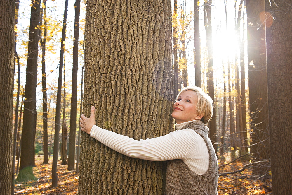 USA, New Jersey, Smiling woman hugging tree in Autumn forest