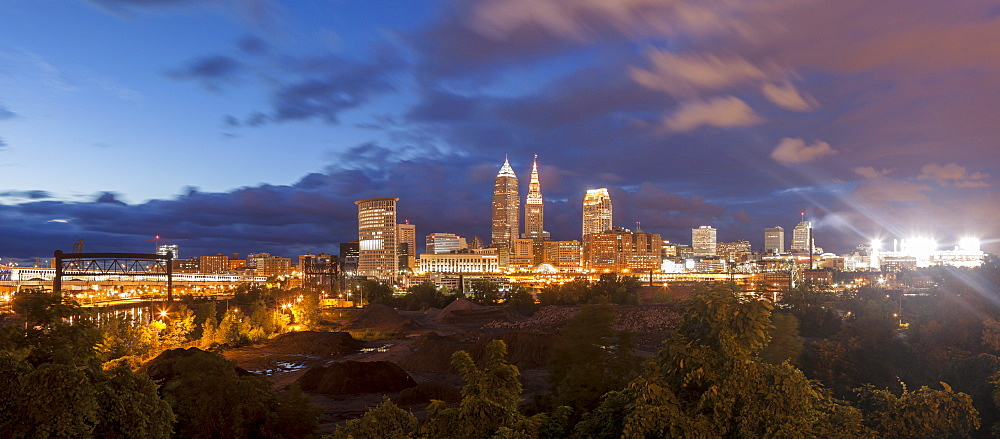 Cityscape at evening, Cleveland, Ohio