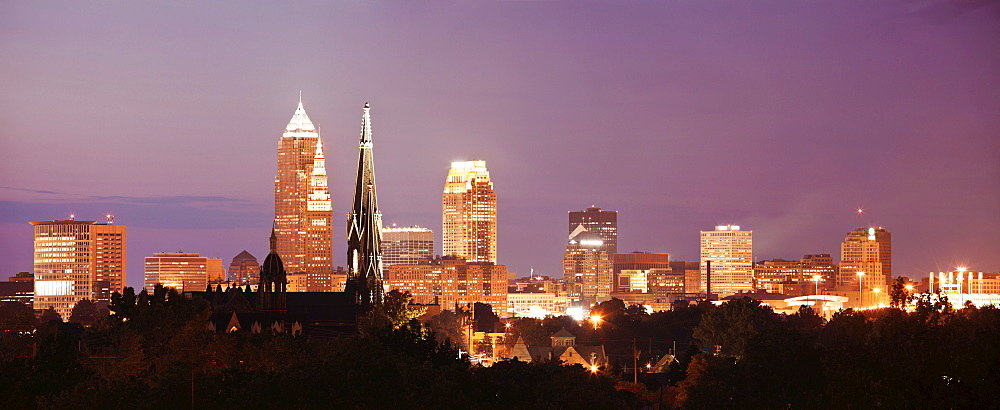 Cityscape at night, Cleveland, Ohio