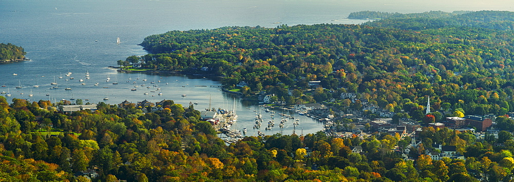 View of coastline with bay and harbor, Camden, Maine
