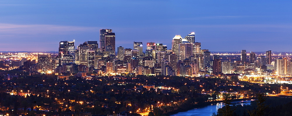 Illuminated cityscape at dusk, Alberta, Canada