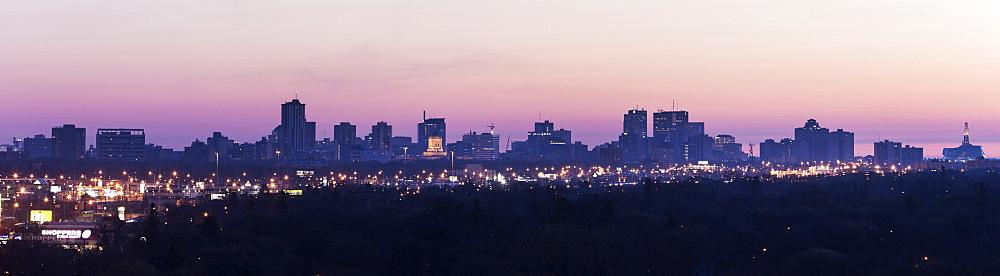 Purple cityscape at sunset, Winnipeg Manitoba, Canada