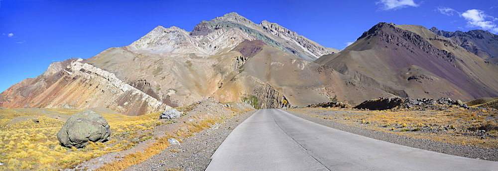 Panoramic view of road in Andes Mountains, Aconcagua Provincial Park, Mendoza, Argentina