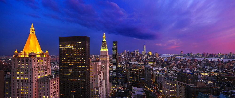 Cityscape at dusk, USA, New York State, New York City