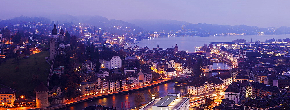 Old town at night, Switzerland, Lucerne