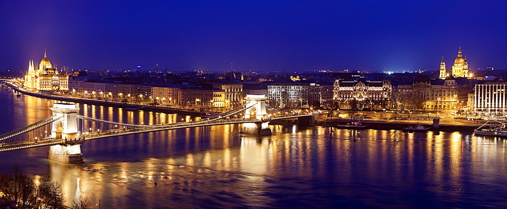 Waterfront cityscape with Chain Bridge, Hungary, Budapest