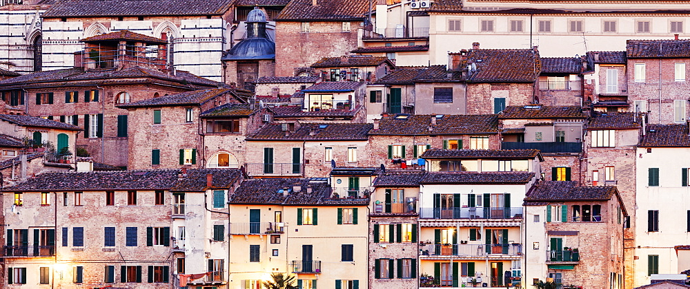 Italy, Tuscany, Siena, Urban scene with old houses