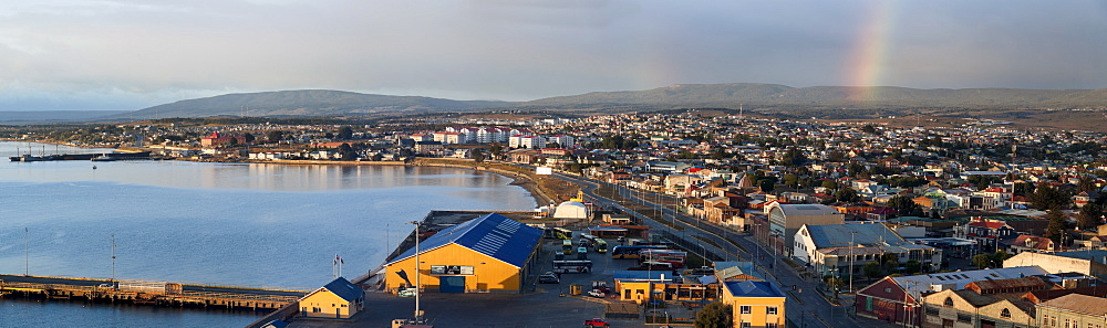 Cityscape with rainbow, Chile, Punta Arenas