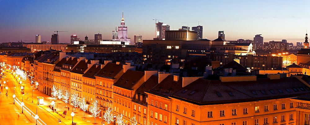 View over Krakowskie Przedmiescie towards downtown