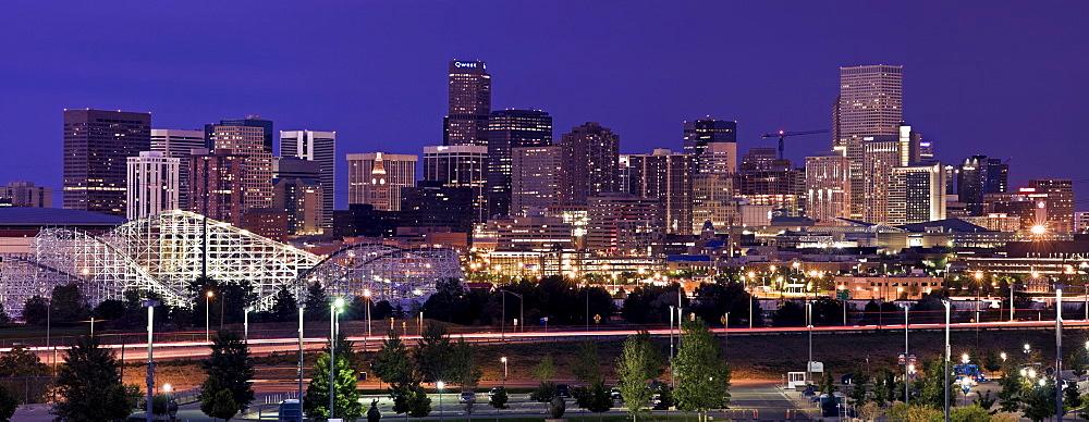 USA, Colorado, Denver, Cityscape at night