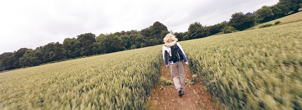 Hiker walking on path through field