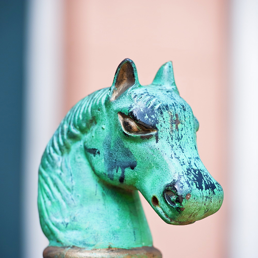 Iron statue of a horse's head