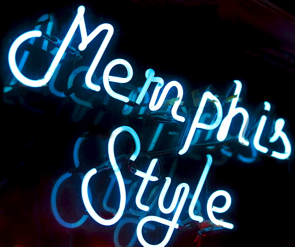 Illuminated Memphis Style sign on Beale Street in Memphis