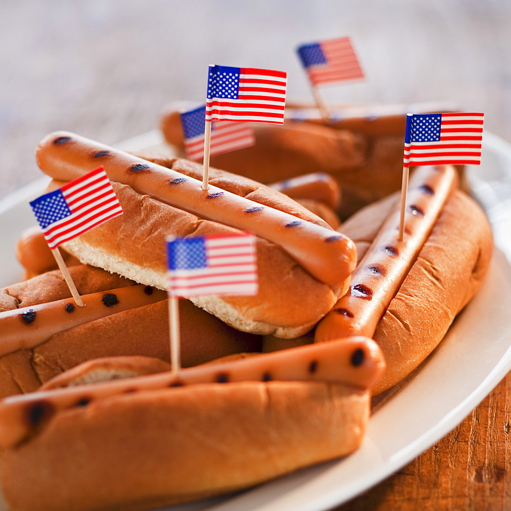 American flags in hotdogs