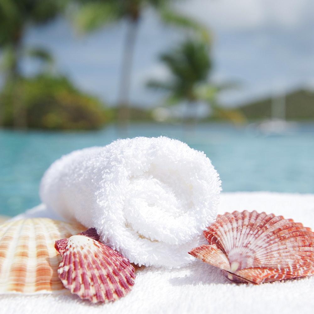Spa towel and seashells