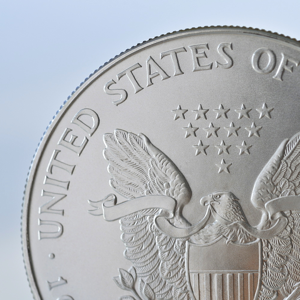 Close up of silver coin
