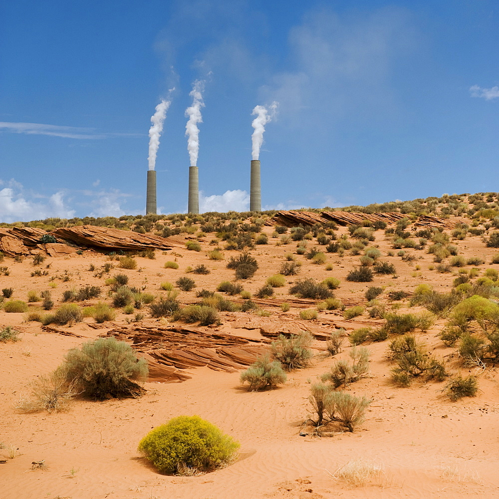 Smokestacks of power plant on Navajo reservation in Arizona