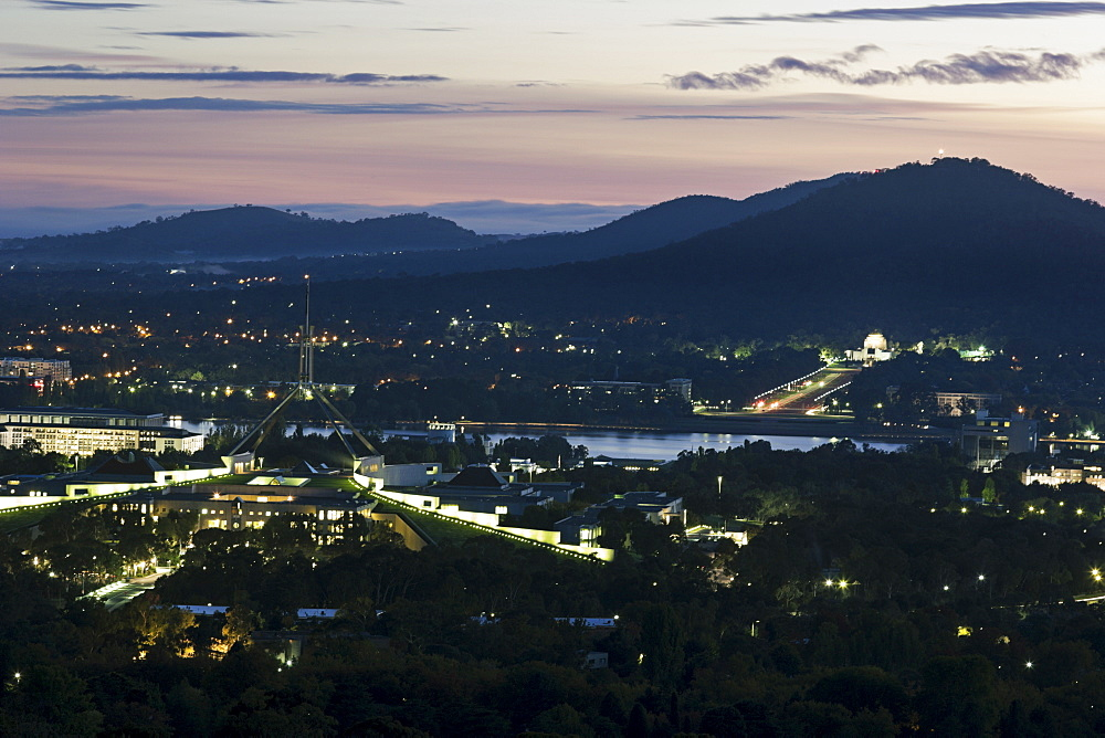 Aerial view of downtown during sunset, Australia, Canberra