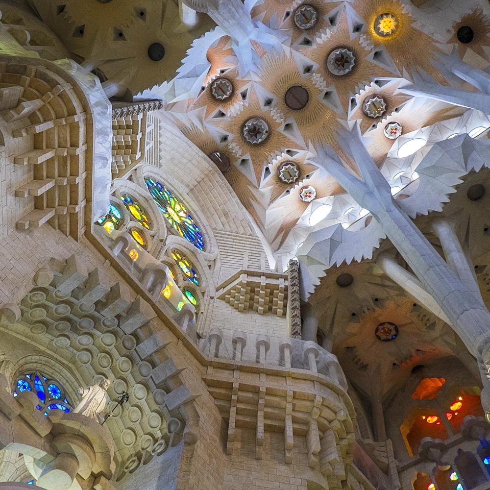 Interior of Sagrada Familia Church by Antonio Gaudi, Barcelona, Spain