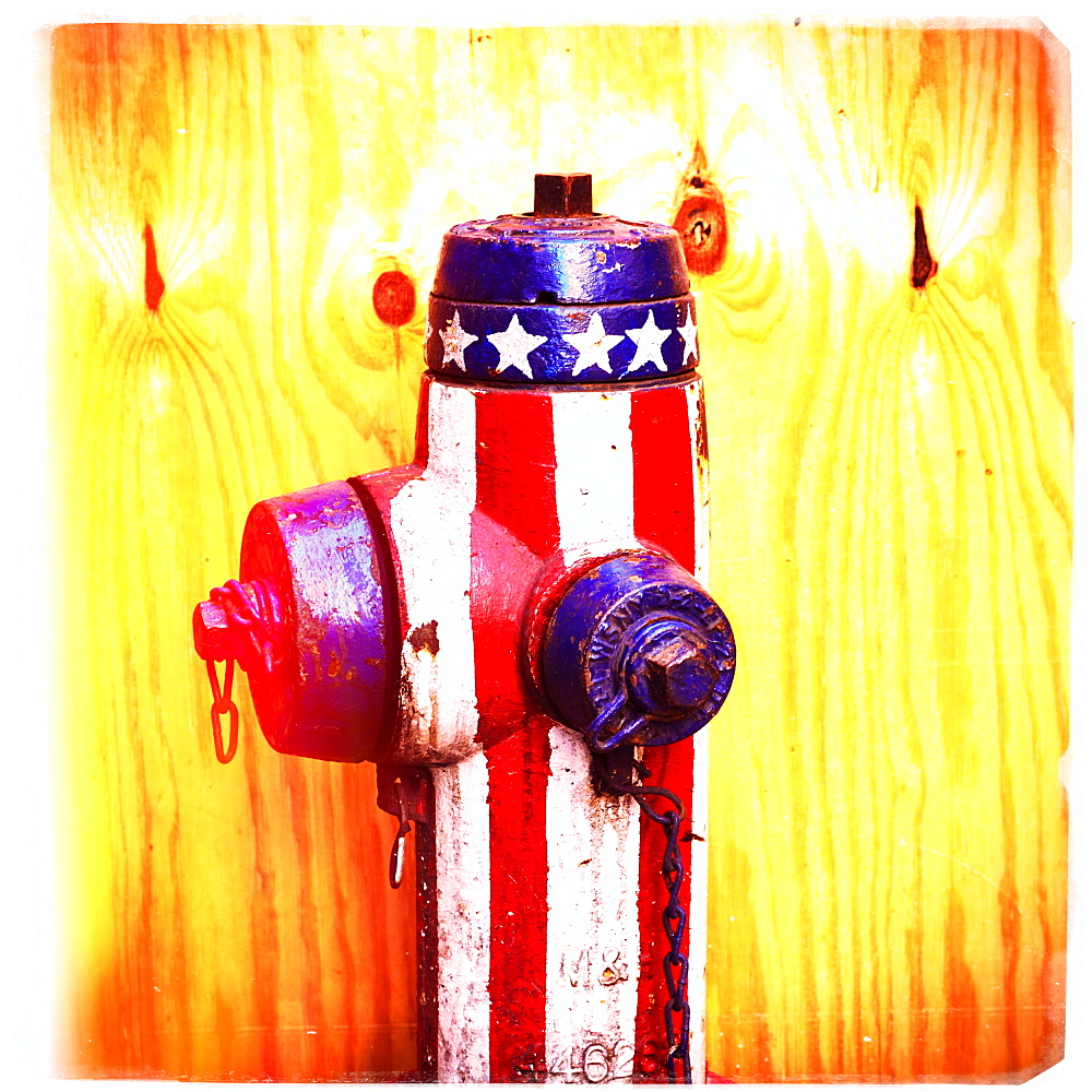 Fire hydrant with American flag pattern