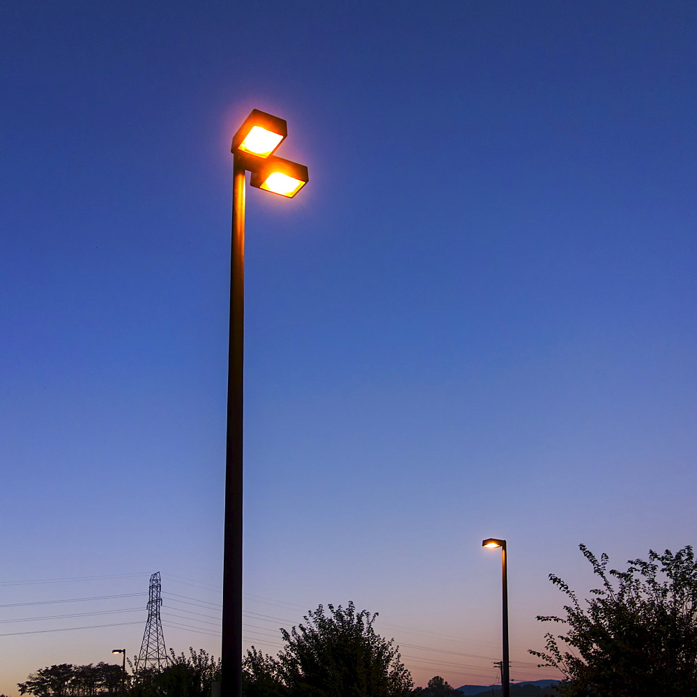 Street light at dusk, Valdese, North Carolina