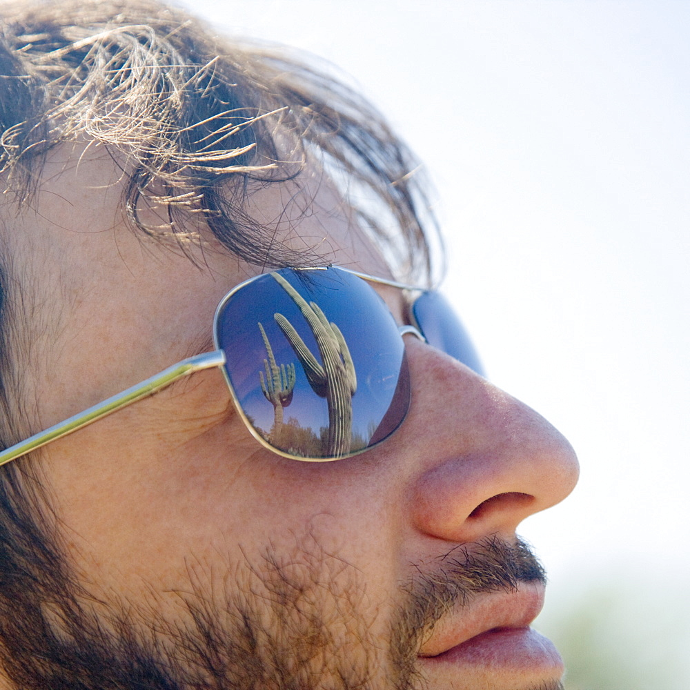 Close up of man wearing sunglasses