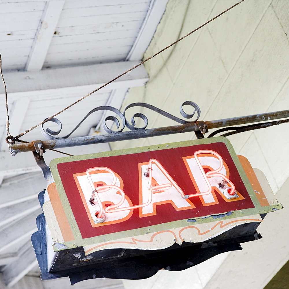 Close up of bar sign, French Quarter, New Orleans, Louisiana, United States