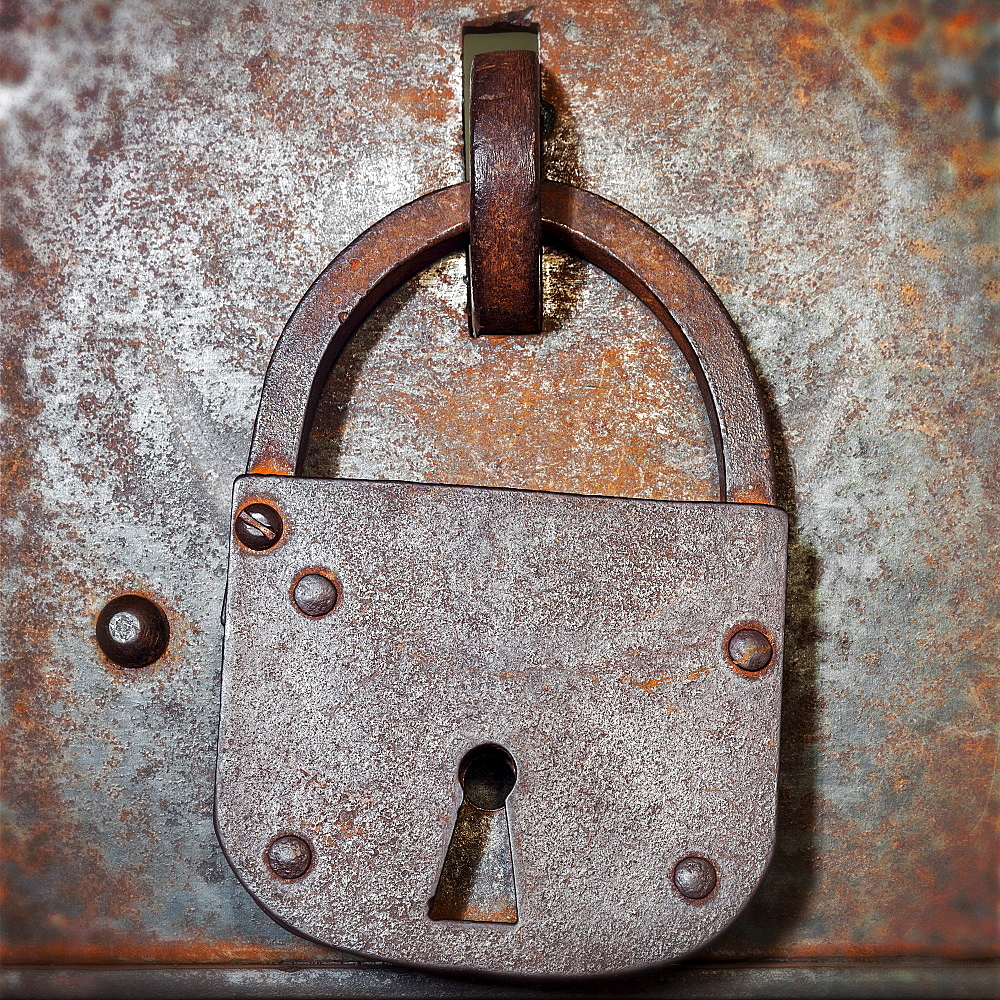 Antique rusted padlock