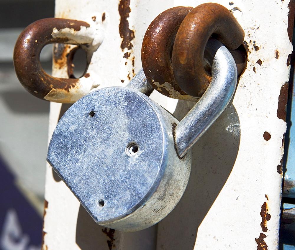Close up of padlock