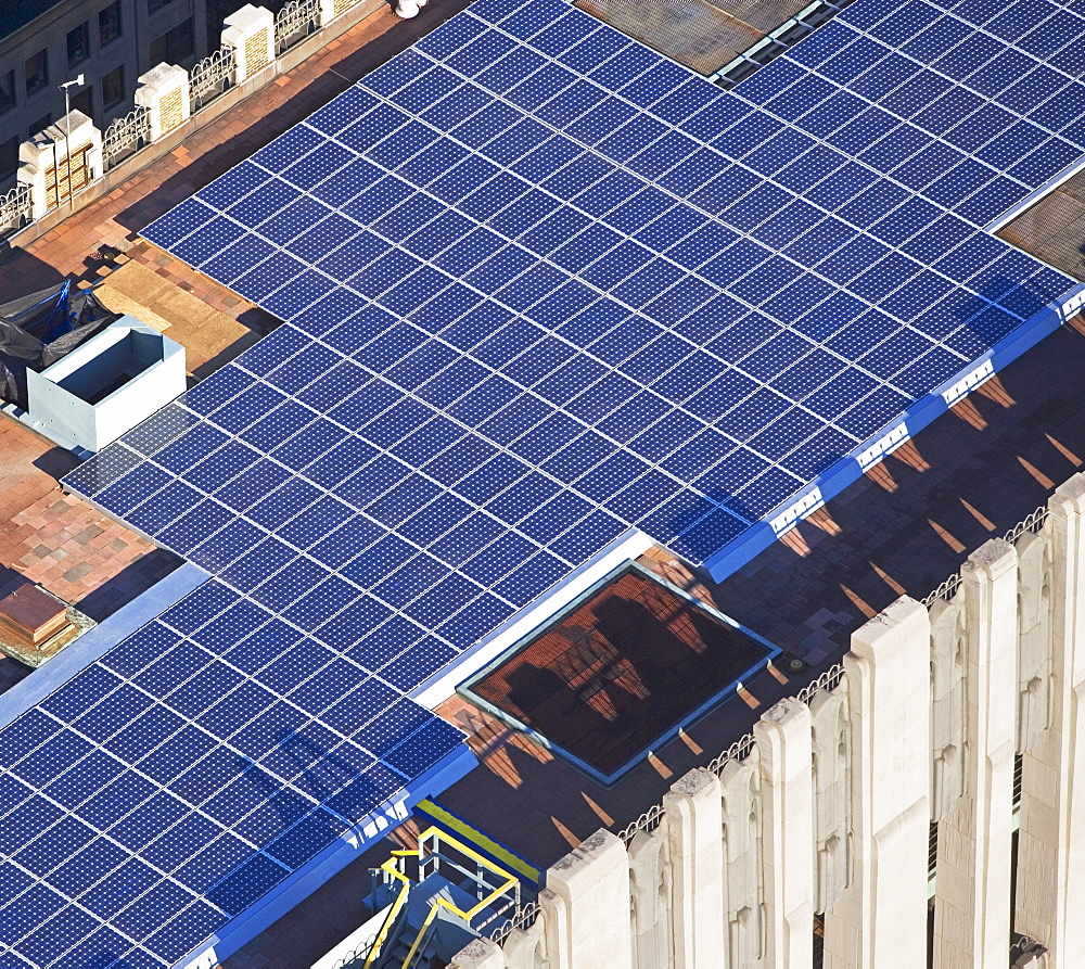 solor panels on skyscraper