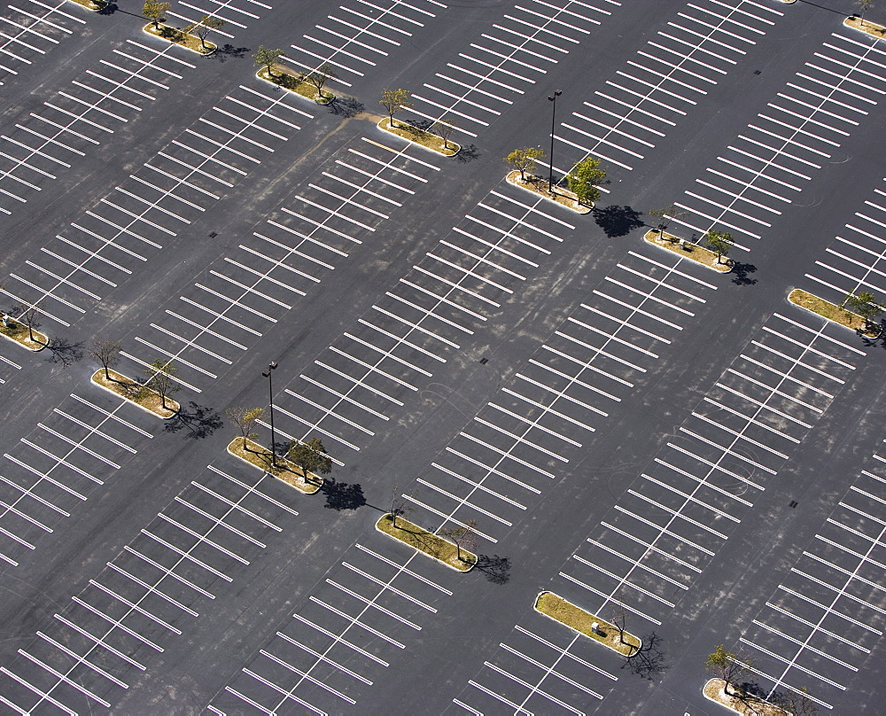 aerial view of parking lot, spaces