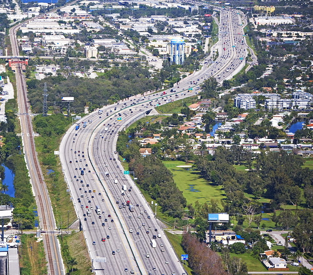 Aerial view of highway, Florida, United States