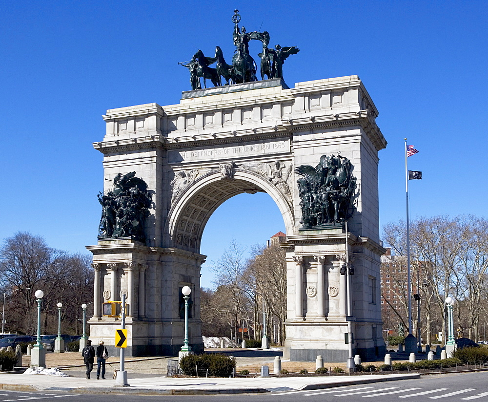 Monument of soldiers and sailors on stone arch