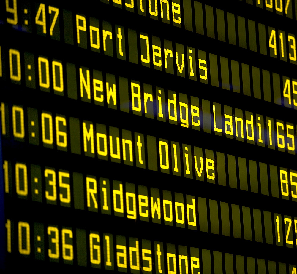 Close-up of arrival departure board