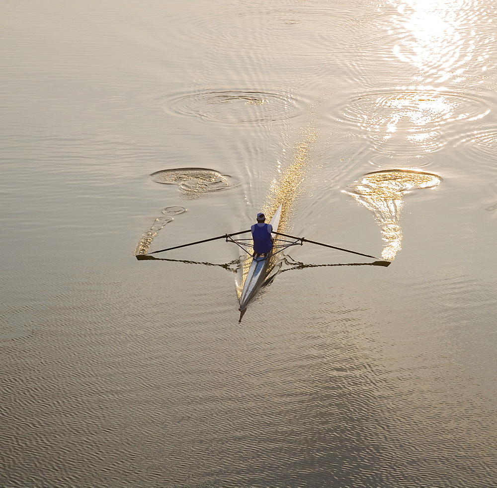 High angle view of person sculling