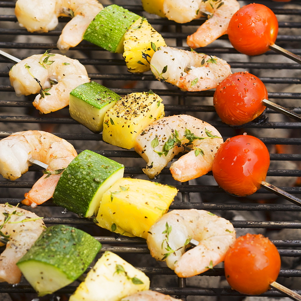 Shish kebab cooking on grill