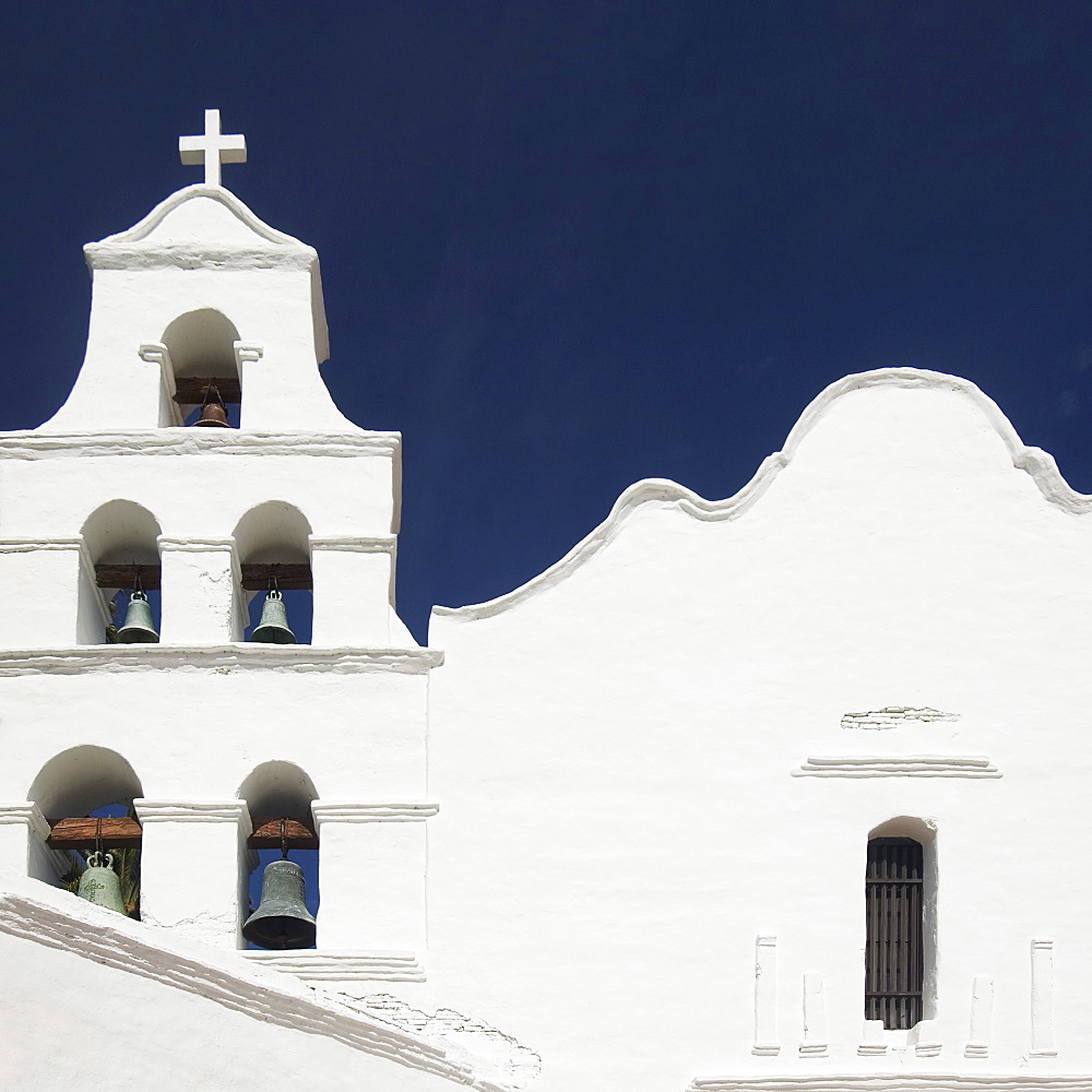 Building facade and church bells, Mission San Diego de Alcala, San Diego, California, United States