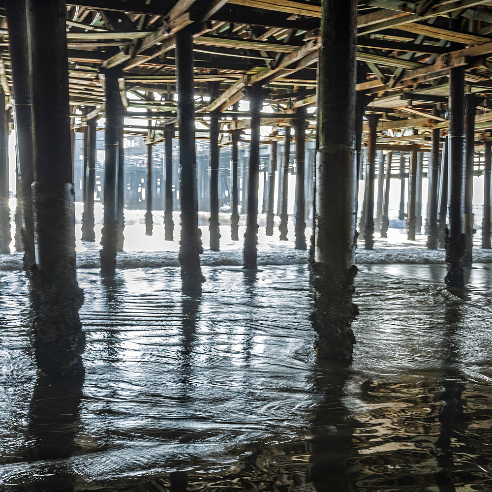 USA, California, Santa Monica, Pillars under Santa Monica pier