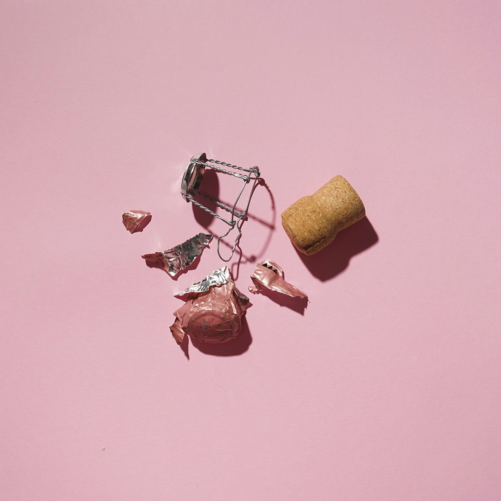 Studio shot of Champagne cork on pink background