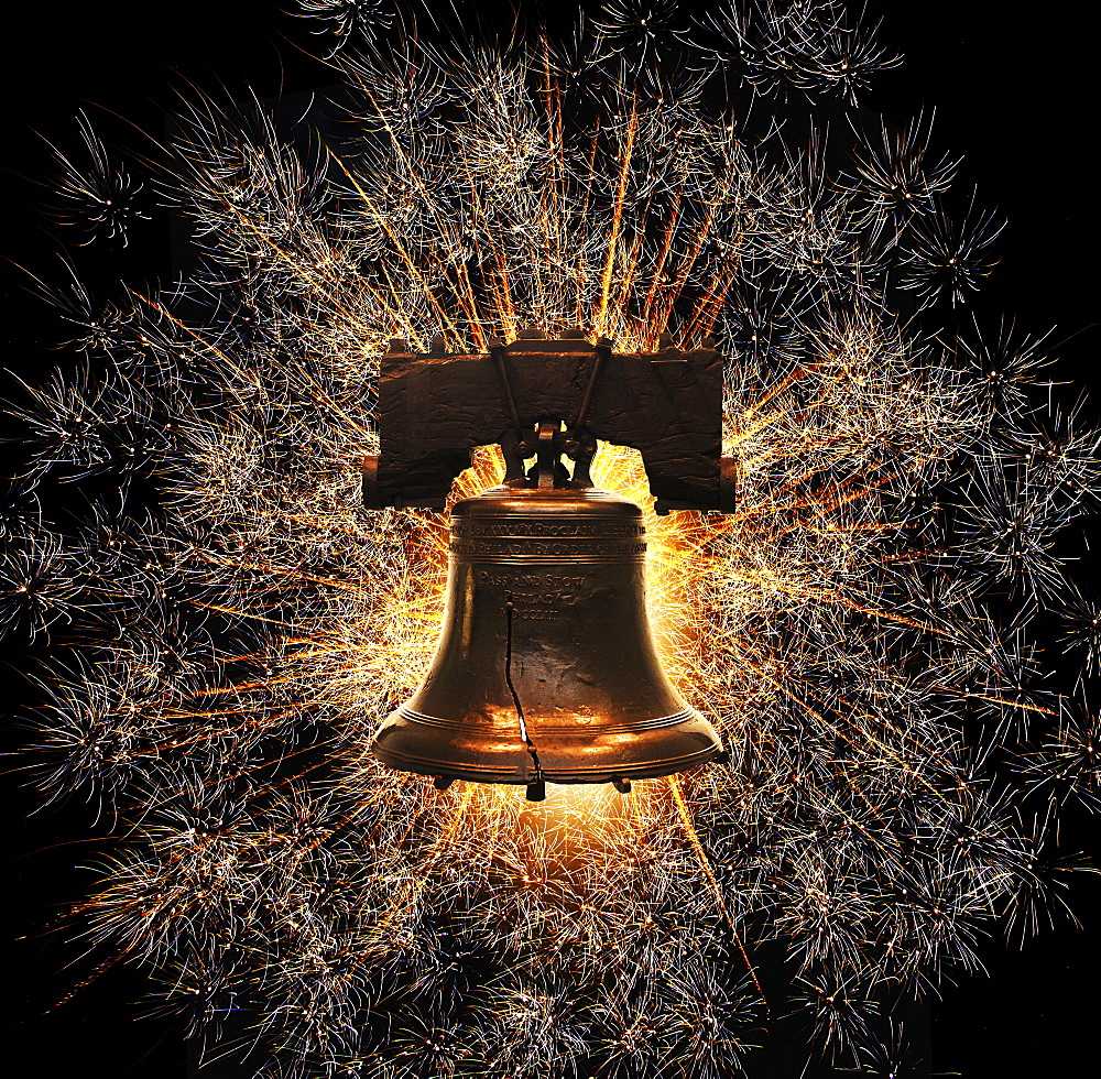 Liberty Bell against firework display