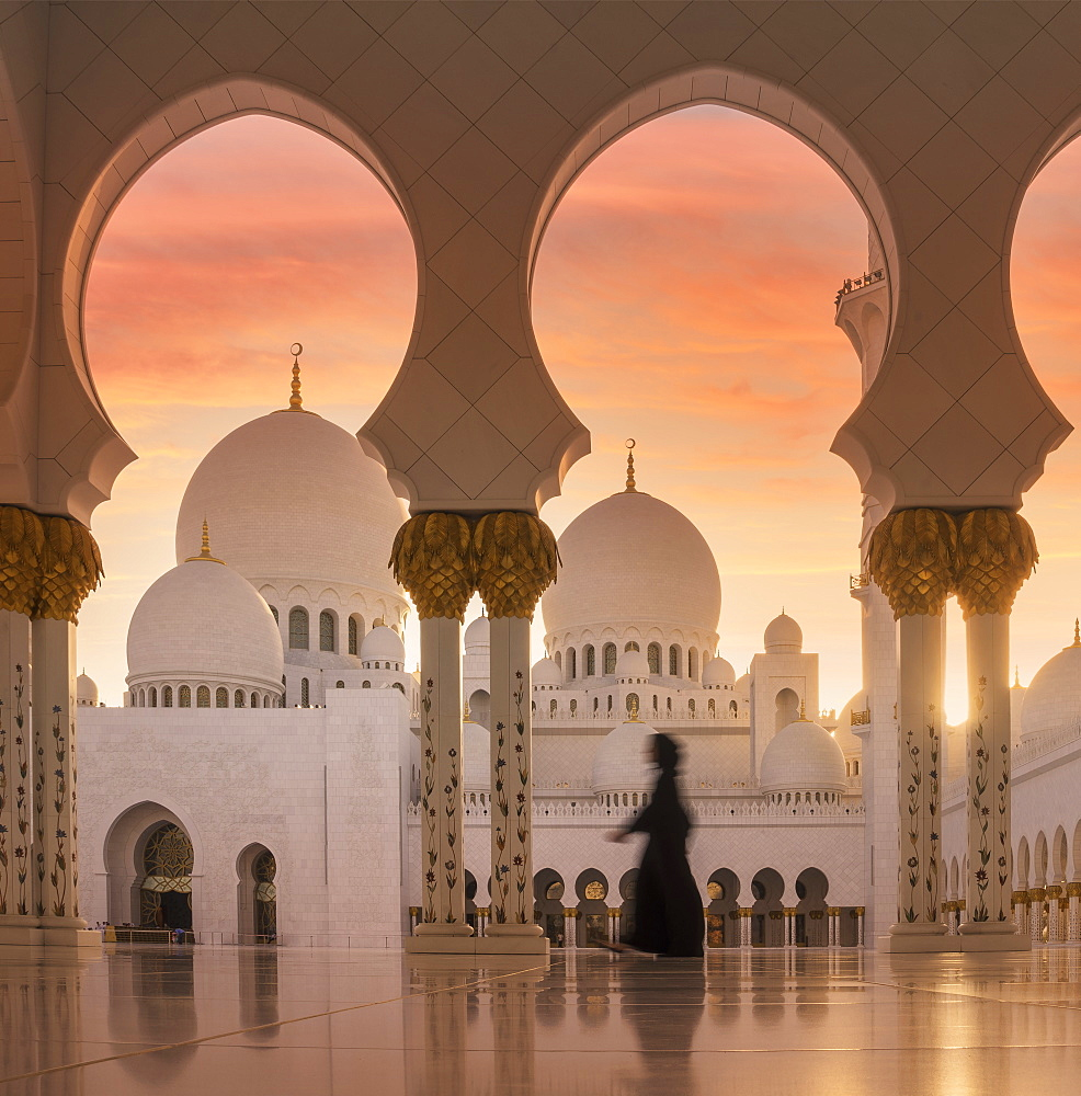 United Arab Emirates, Abu Dhabi, Mosque at sunset