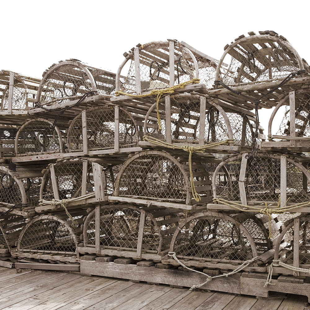 Lobster traps on dock in Maine