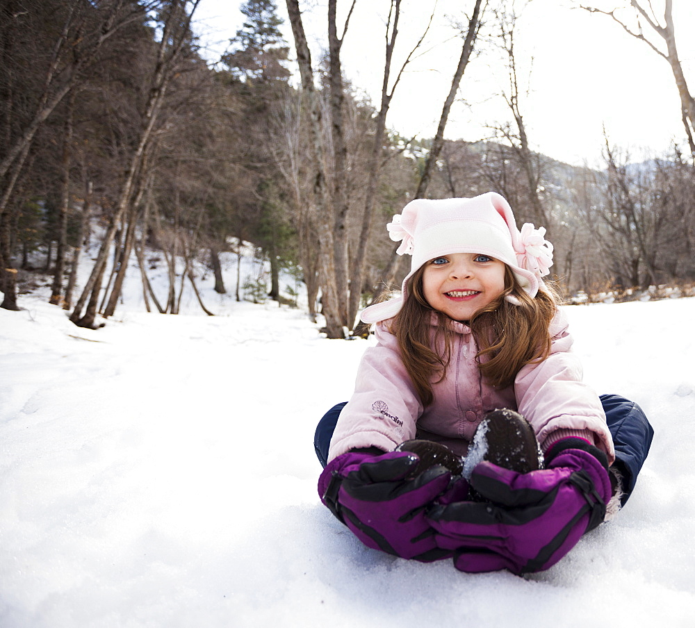 Portrait of Girl (2-3) toothy smiling to camera, USA, Utah, Highland