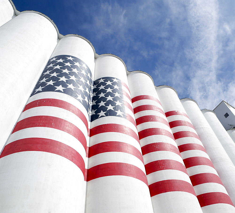 Silos painted with American flag