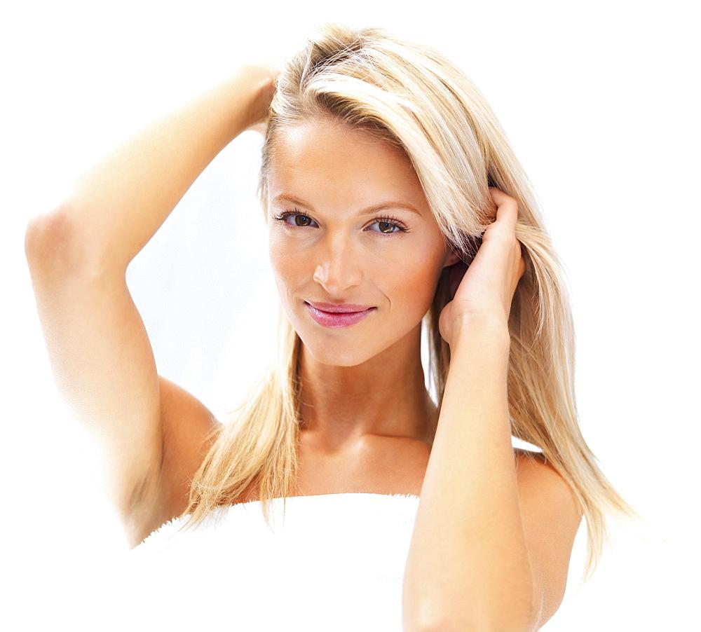 Pretty blond woman wearing a towel