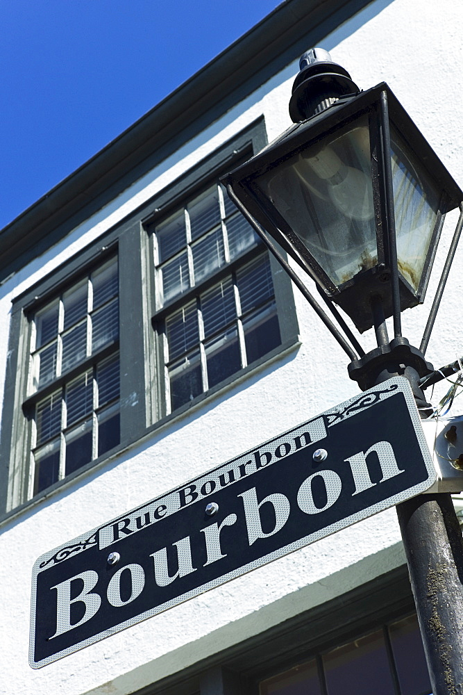 Bourbon Street sign and Lamp post